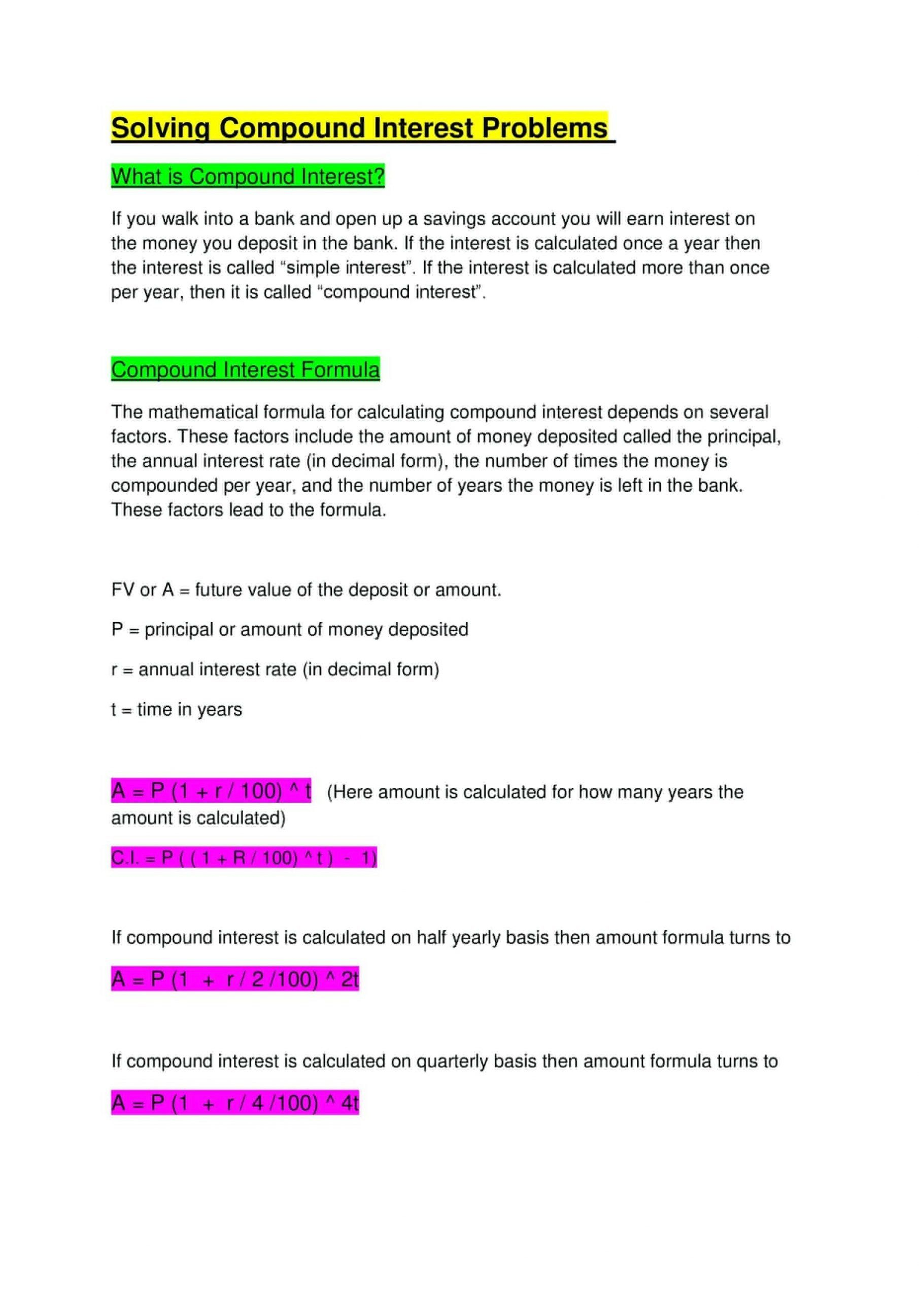 Compound Interest Worksheet Answers Calculating Simple
