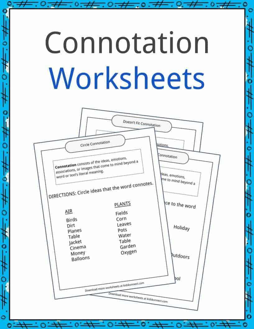 Connotation Examples, Definition And Worksheets | Kidskonnect