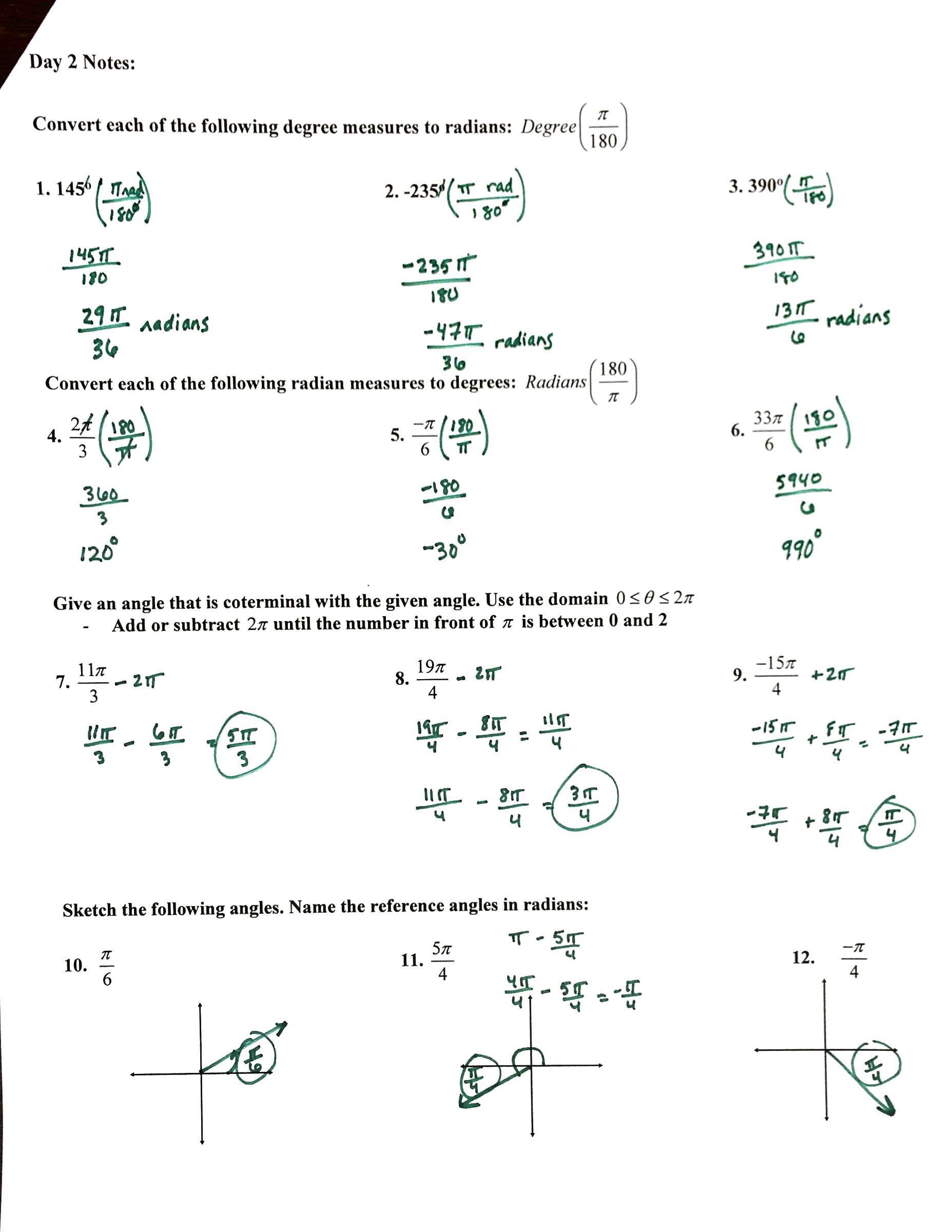 Degrees: Degrees And Radians Conversion Practice