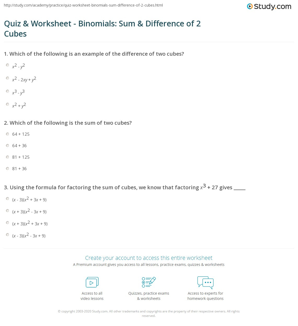 Diff And Sum Of Cubes Worksheet | Printable Worksheets And