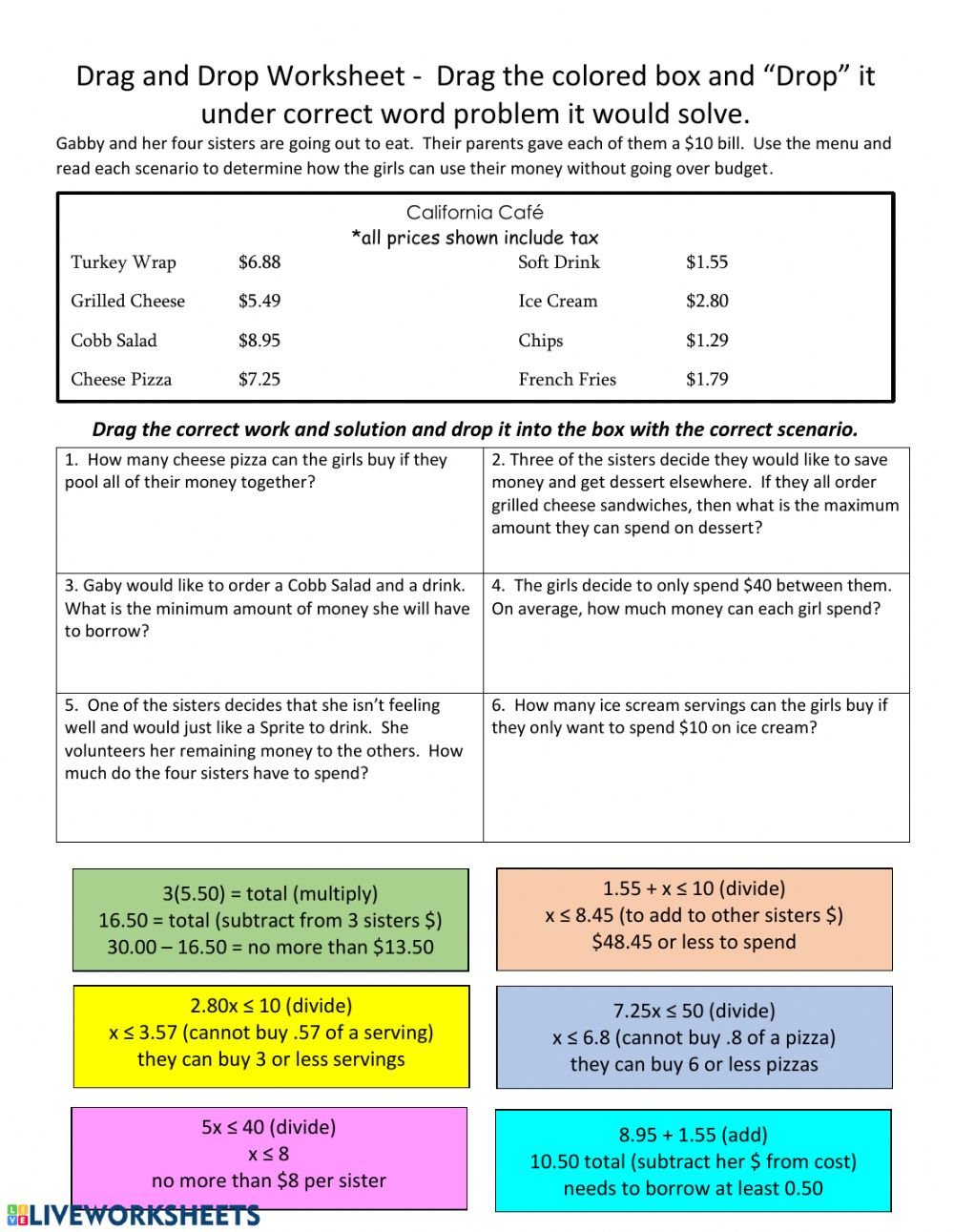 Drag And Drop Inequality Word Problems Worksheet