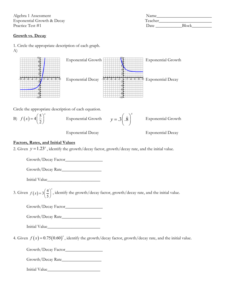 Exponential Functions Practice Test #1