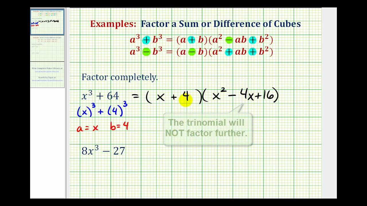 Factoring Sum And Difference Of Two Cubes Examples (Videos