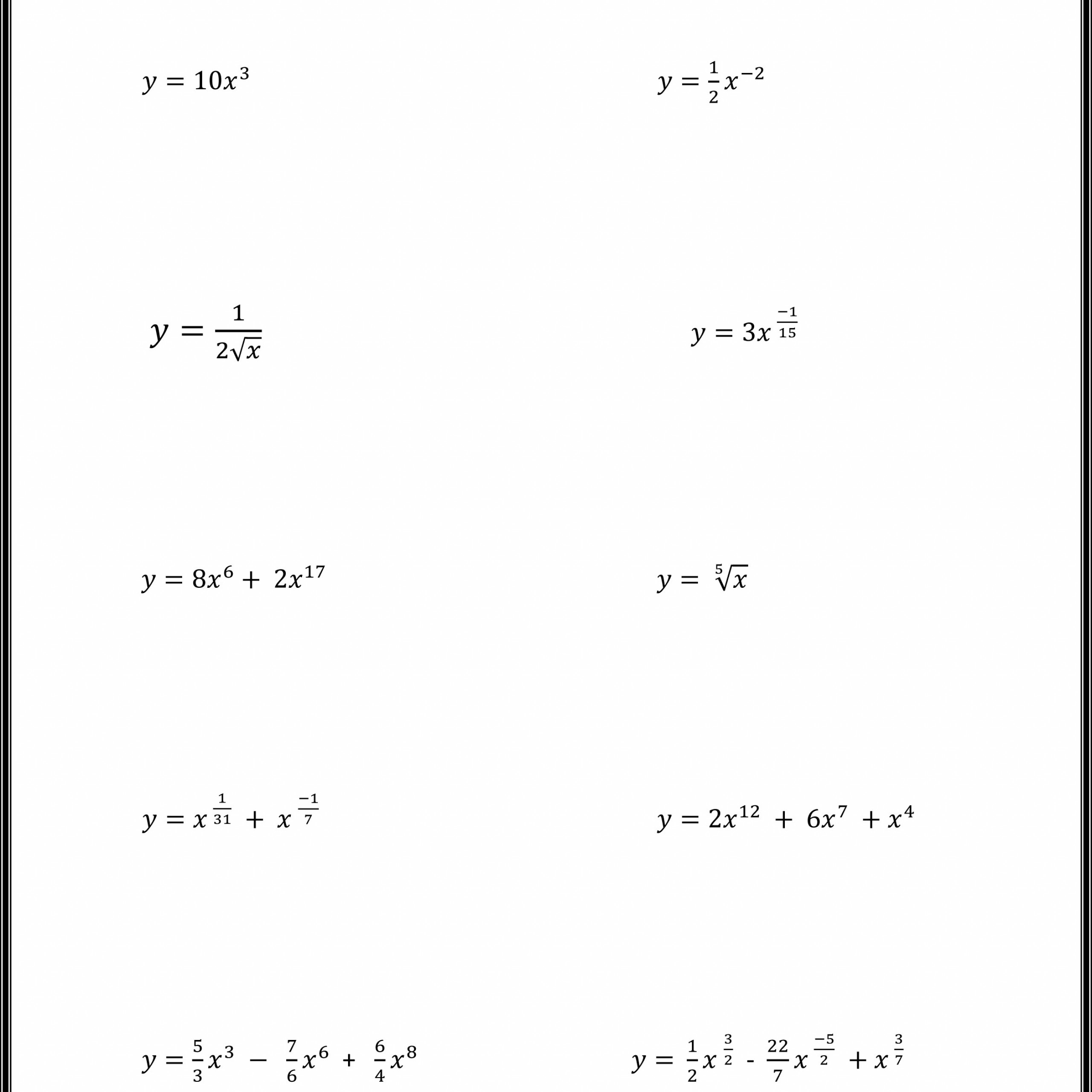 Find The Derivatives Using Power Rule