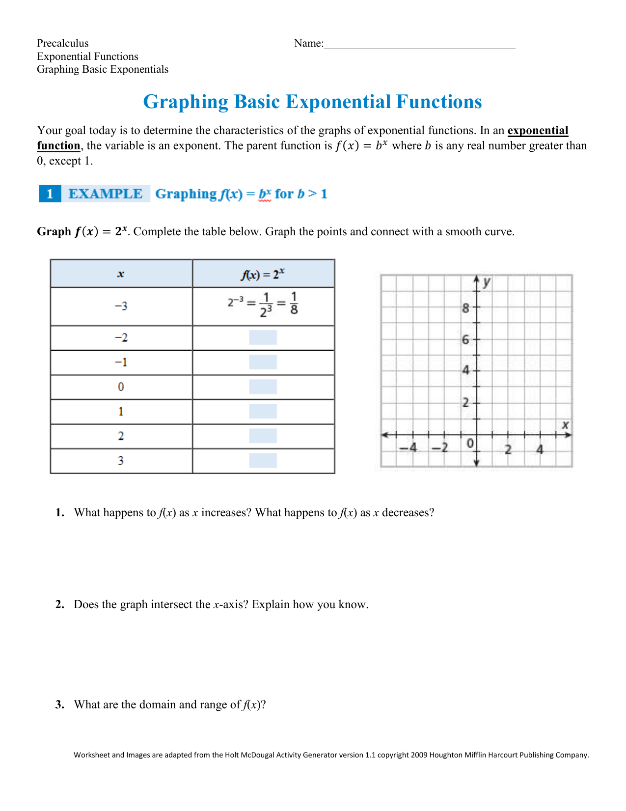 Algebra 2 Exponential Functions Worksheet Answers ...