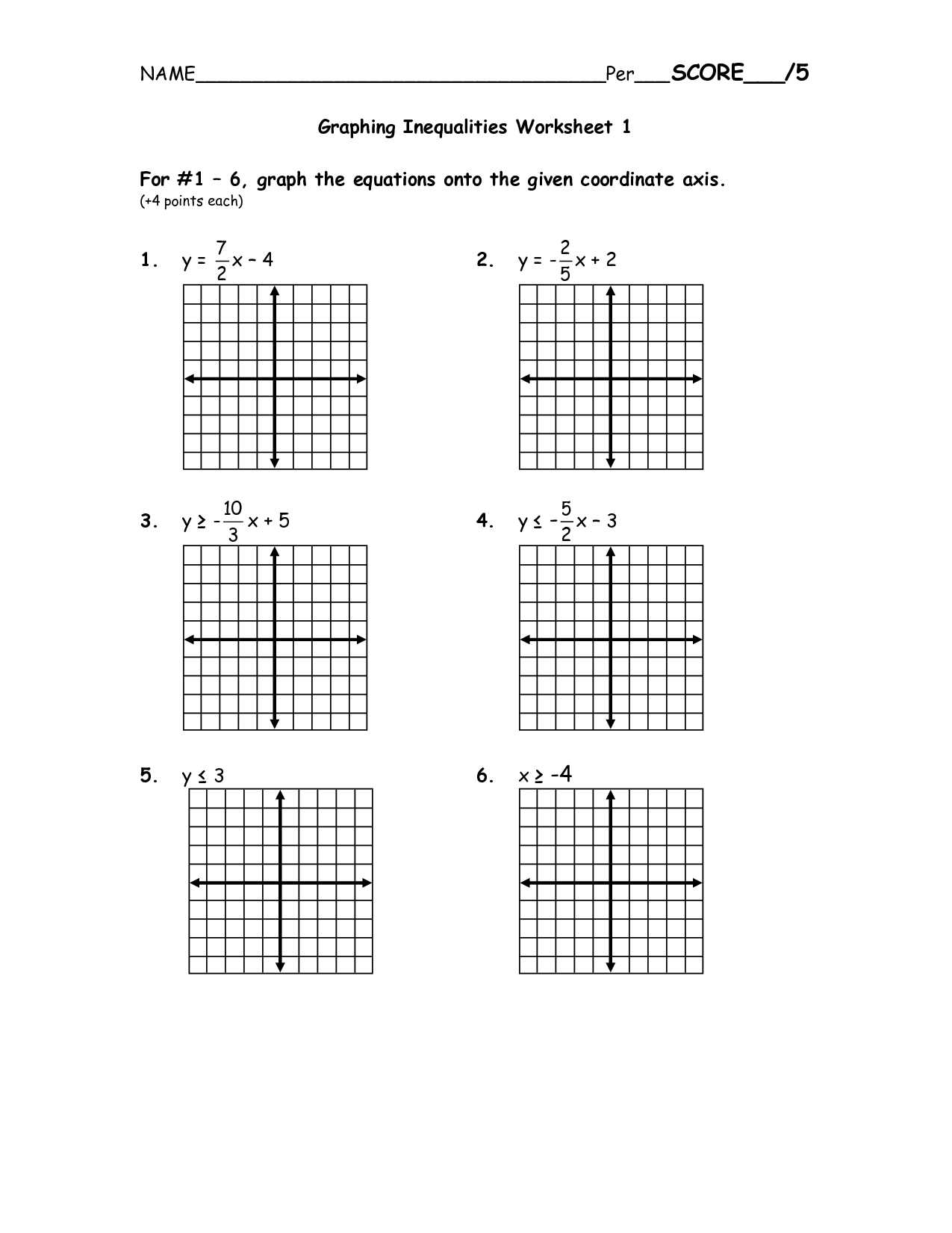 Graphing Linear Inequalities Worksheet - Promotiontablecovers