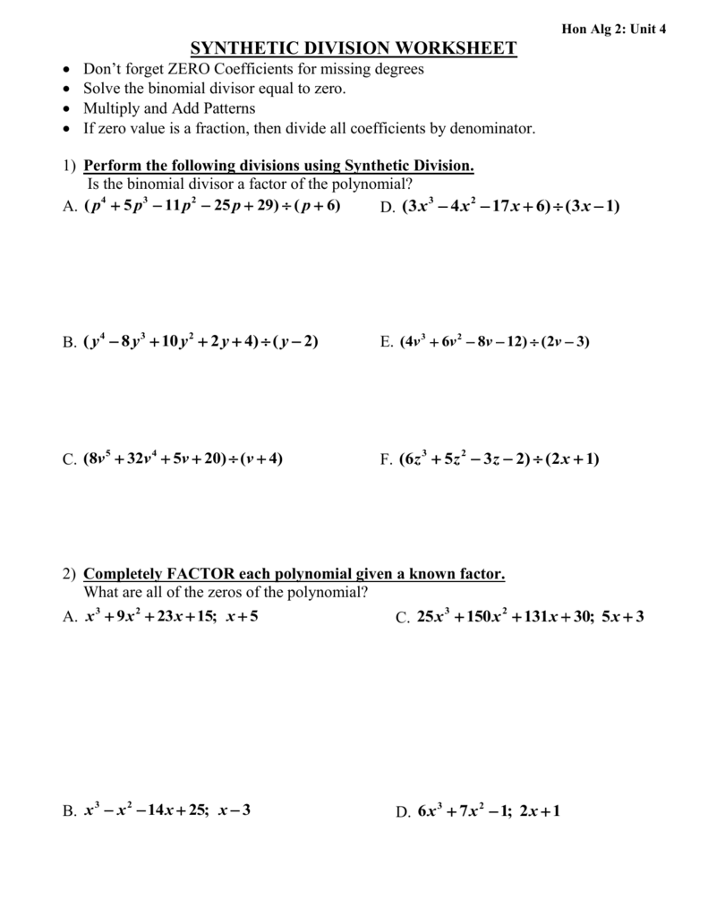 Hon Alg 2: Unit 4 Synthetic Division Worksheet Don`t Forget