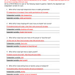 Independent And Dependent Variables Worksheet Middle School