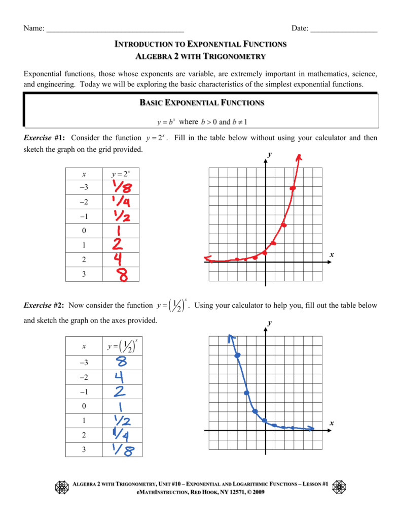 Introduction To Exponential Functions Algebra 2 With