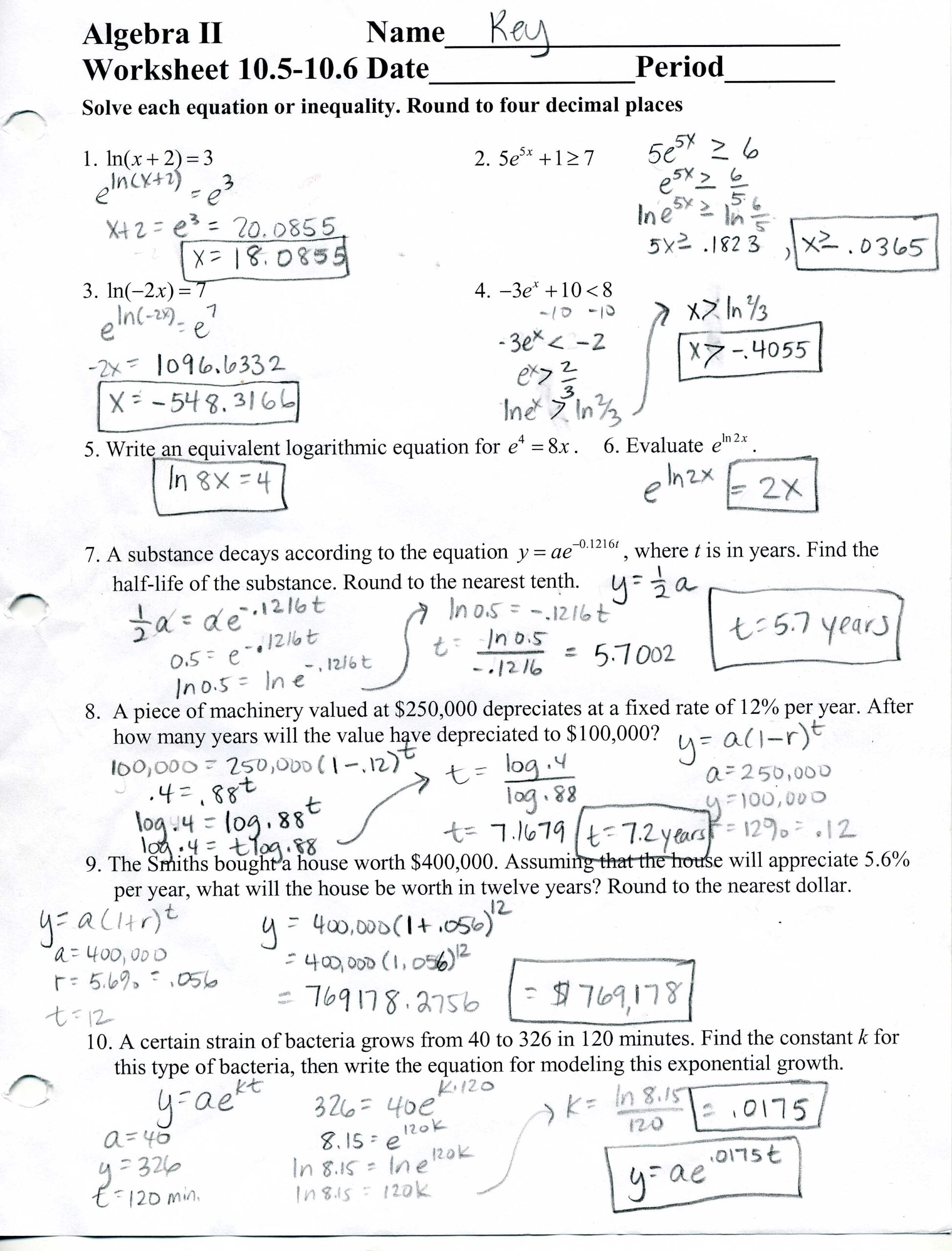 Algebra Worksheets And Answer Key | Algebra Worksheets ...