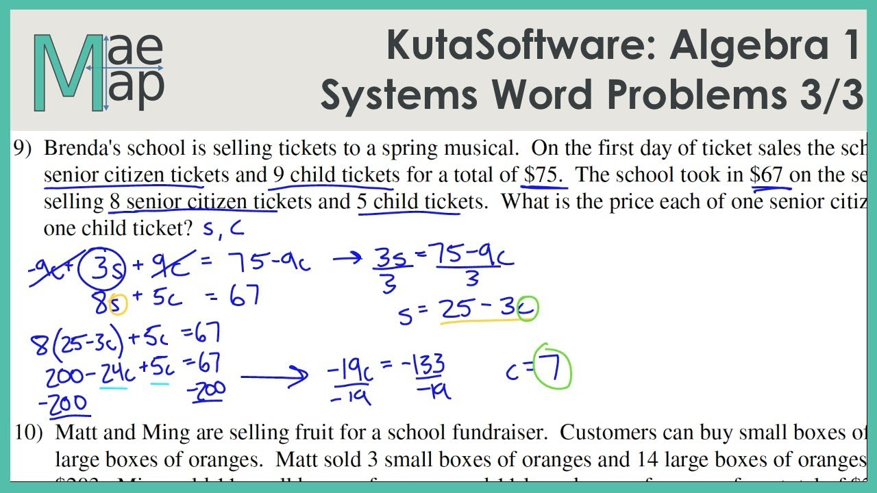 Kutasoftware: Algebra 1- Systems Of Equations Word Problems Part 3