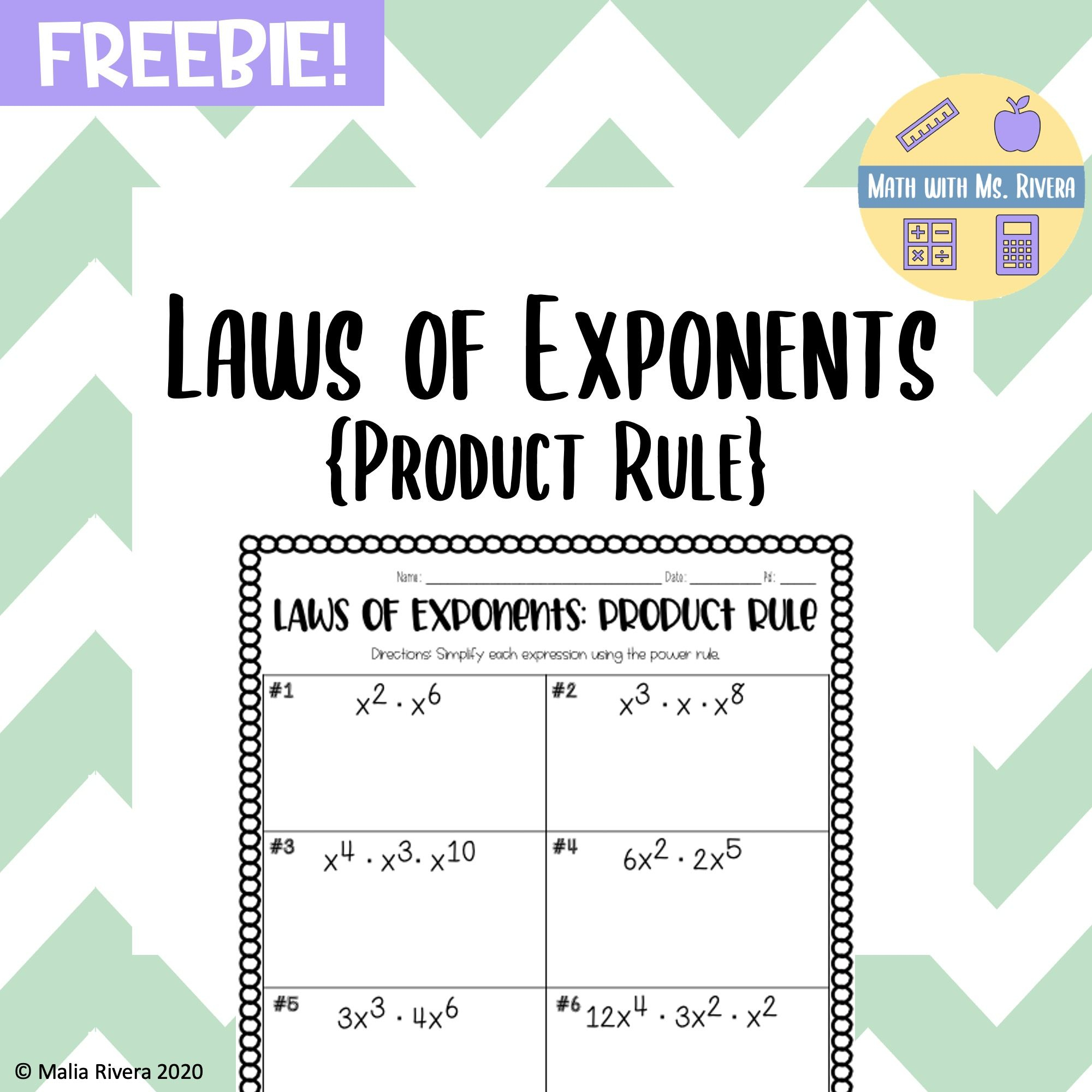 Laws Of Exponents {Product Rule} - Freebie In 2020 | Product