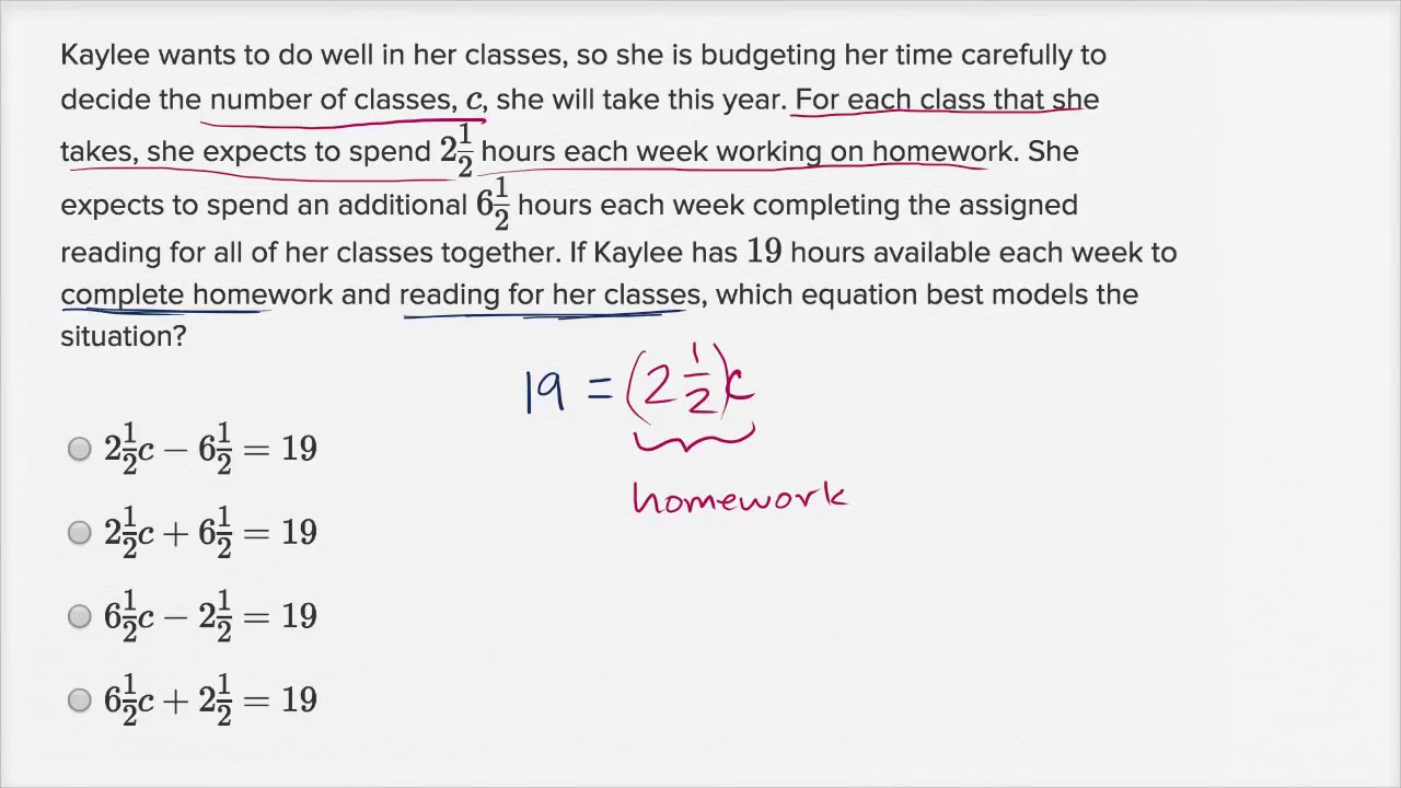 Linear Equation Word Problems — Basic Example