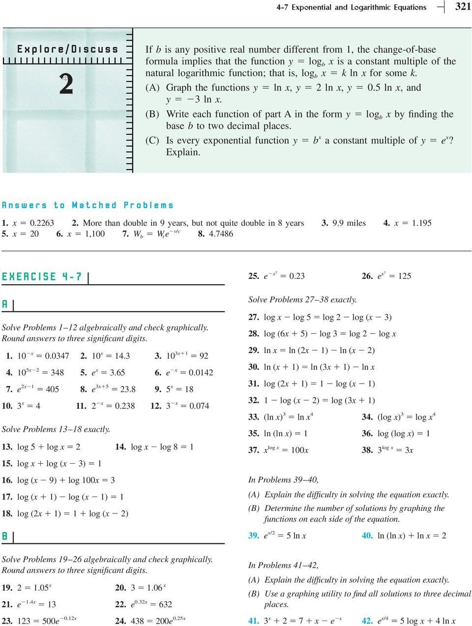 Logarithmic Equations Worksheet With Answers Section 4 7