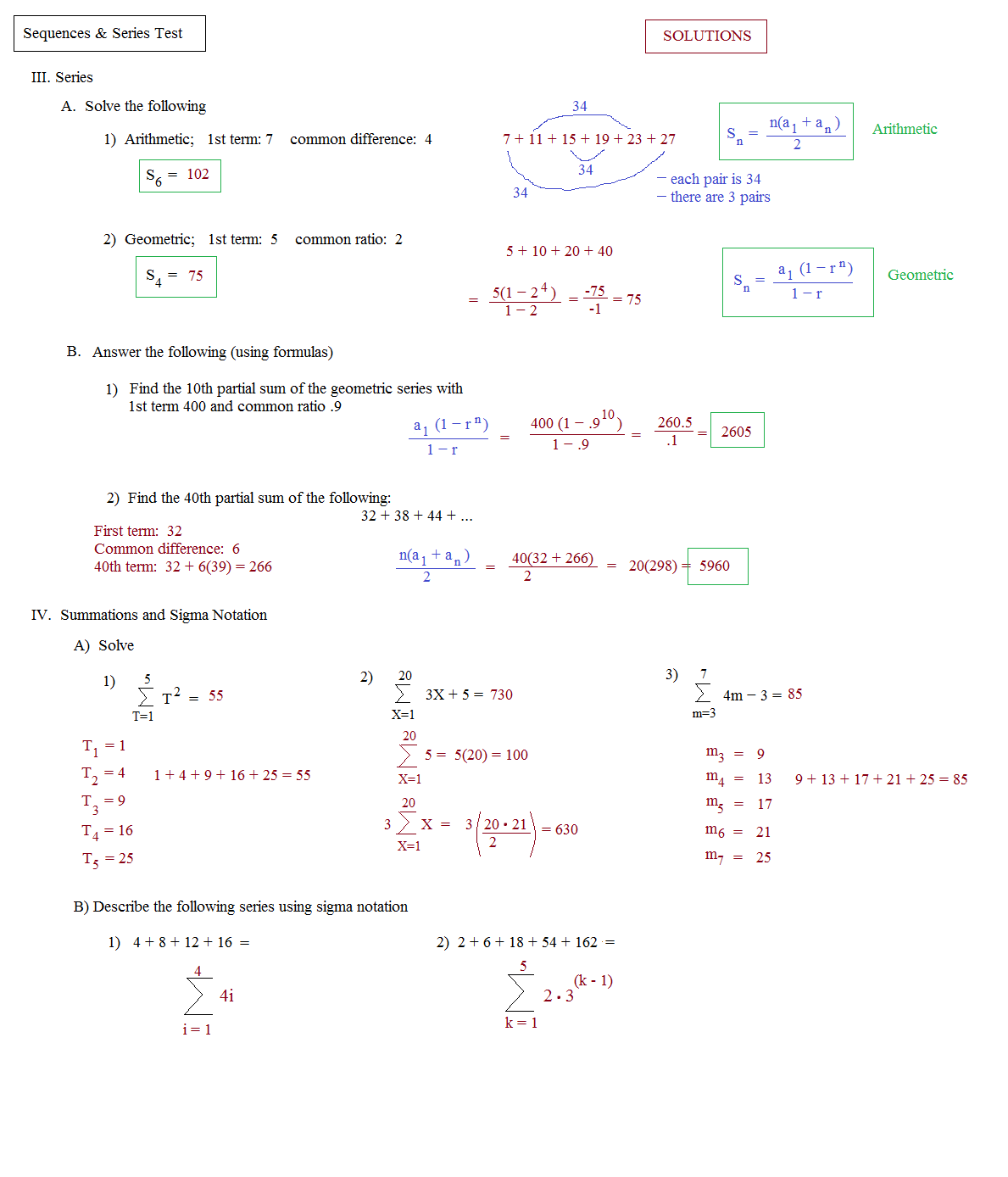 Math Plane - Sequences And Series I