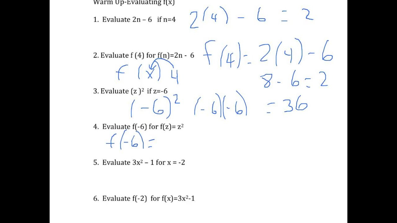 Ninth Grade Lesson Evaluating Functions Using Function Notation