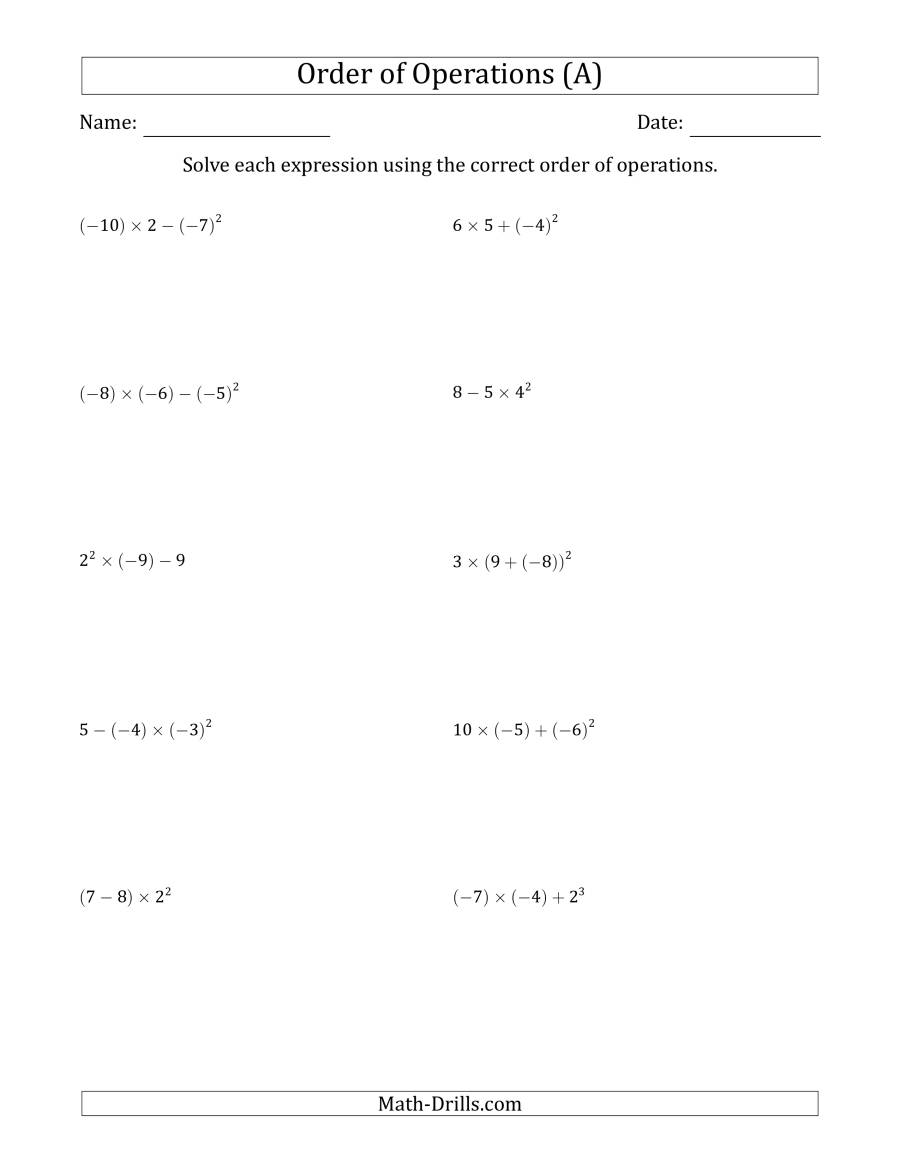 Order Of Operations With Negative And Positive Integers