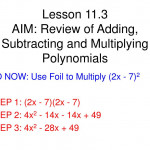 Ppt - Lesson 11.3 Aim: Review Of Adding, Subtracting And
