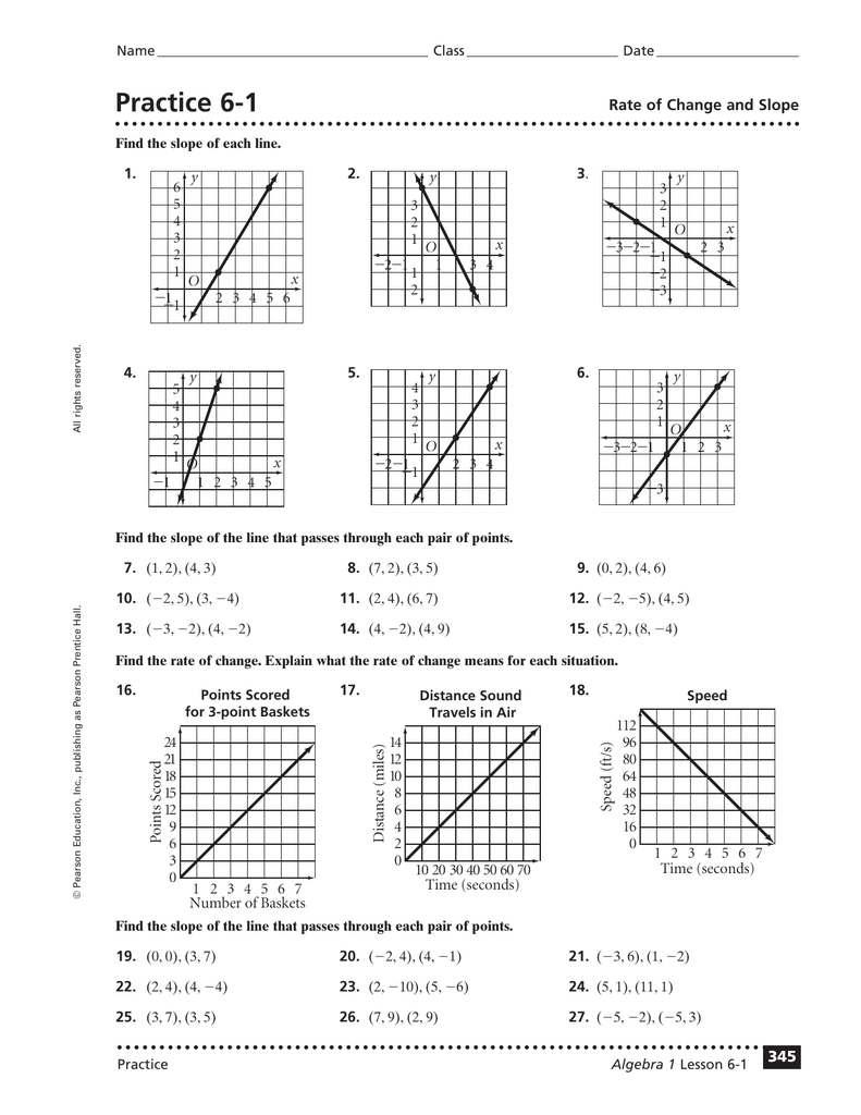 Practice 6-1 Rate Of Change And Slope 3 4
