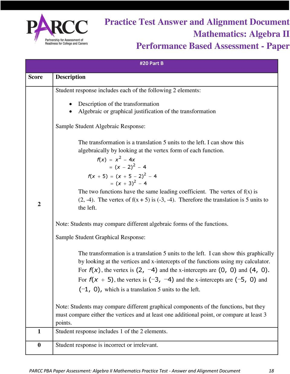 Practice Test Answer And Alignment Document Mathematics