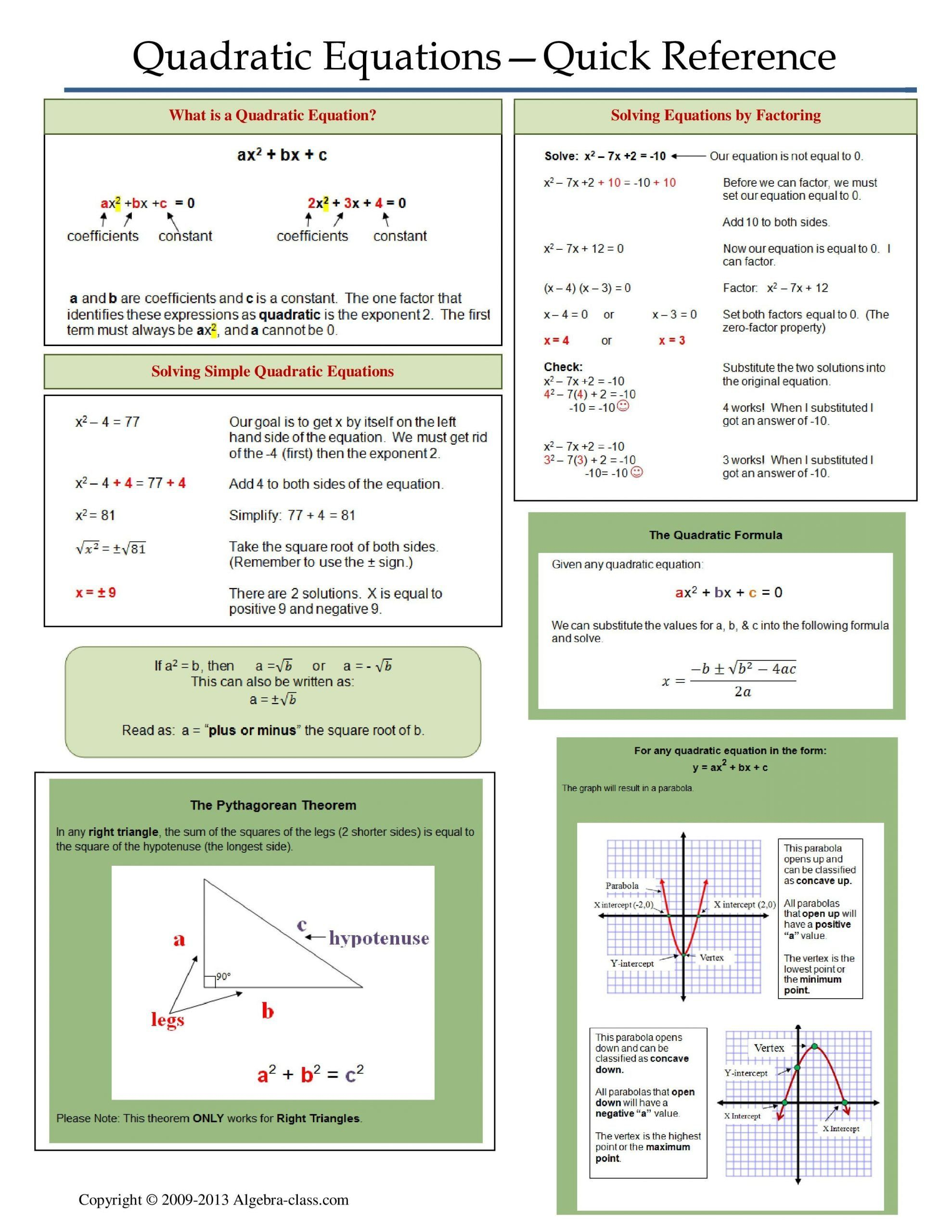 Quadratic Functions Worksheet With Answers E Page Notes