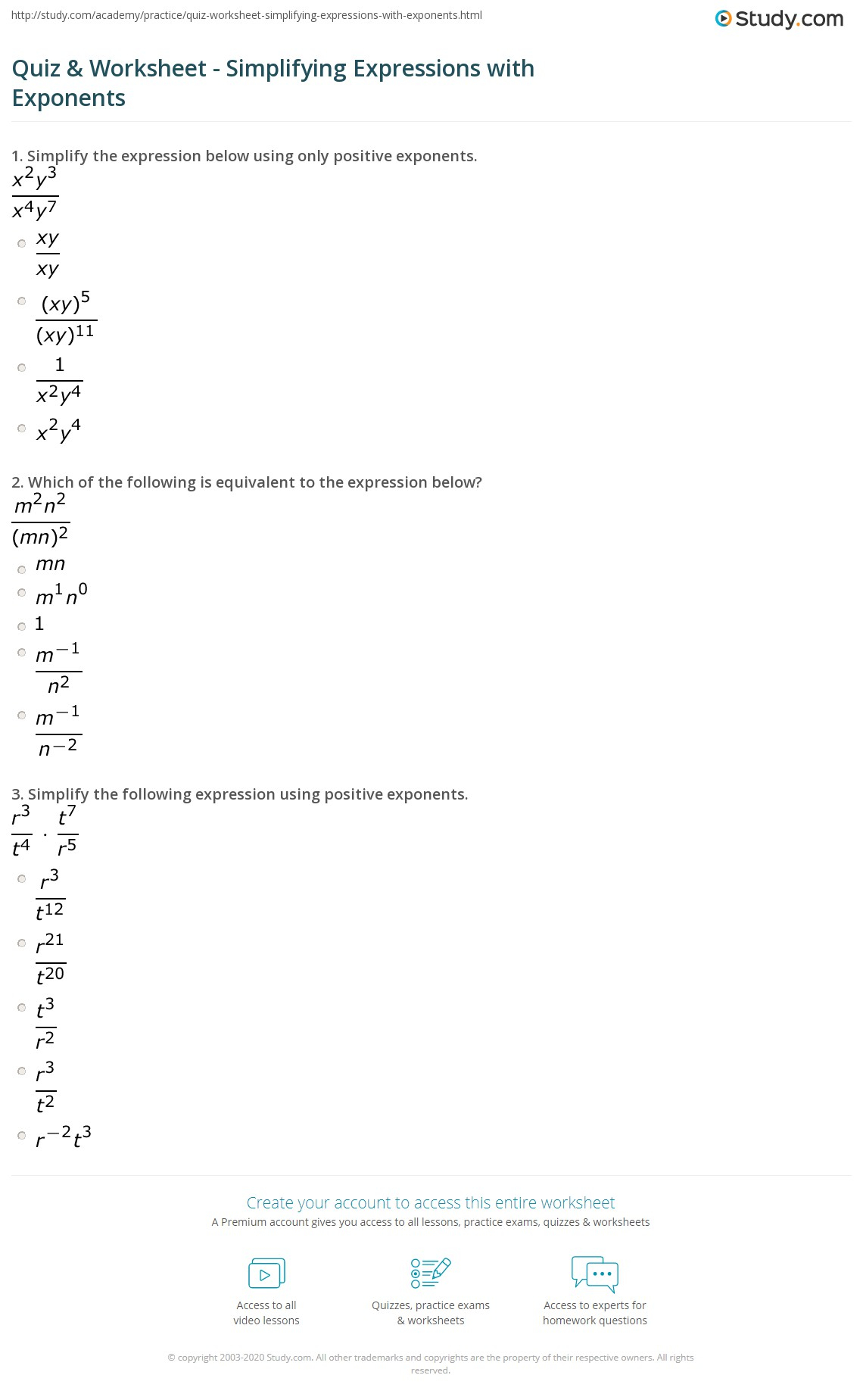 Quiz & Worksheet - Simplifying Expressions With Exponents