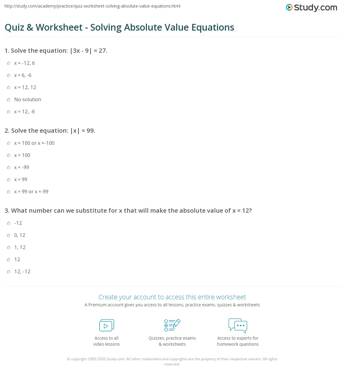 Quiz Worksheet Solving Absolute Value Equations Study Free