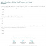 Quiz & Worksheet - Solving Word Problems With Linear