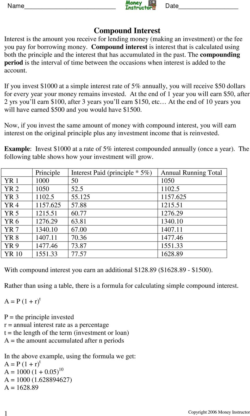 Simple And Compound Interest Worksheet Answers - Nidecmege