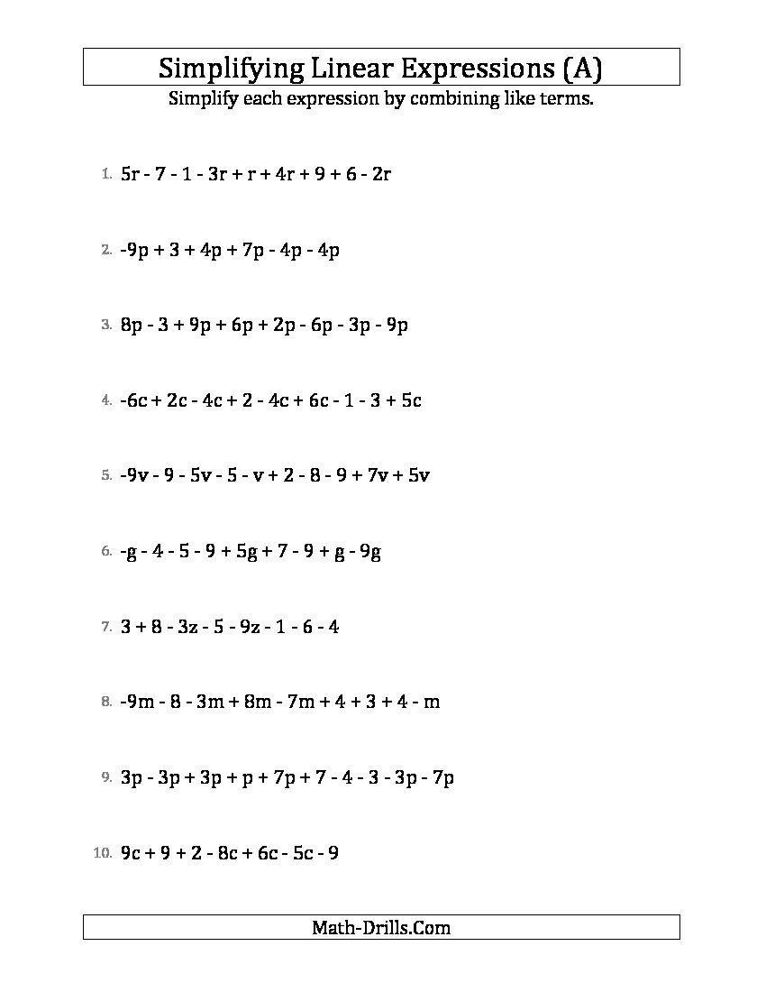 Simplifying Expressions Worksheet With Answers Simplifying