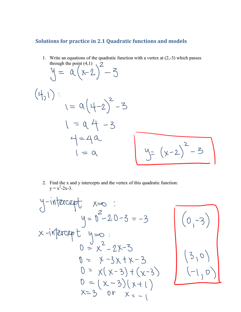 Solutions For Practice In 2.1 Quadratic Functions And Models