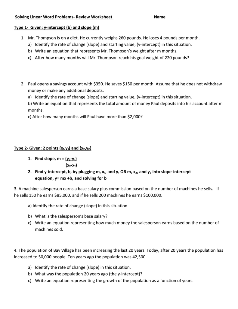 Solving Linear Word Problems- Review Worksheet Name Type 1