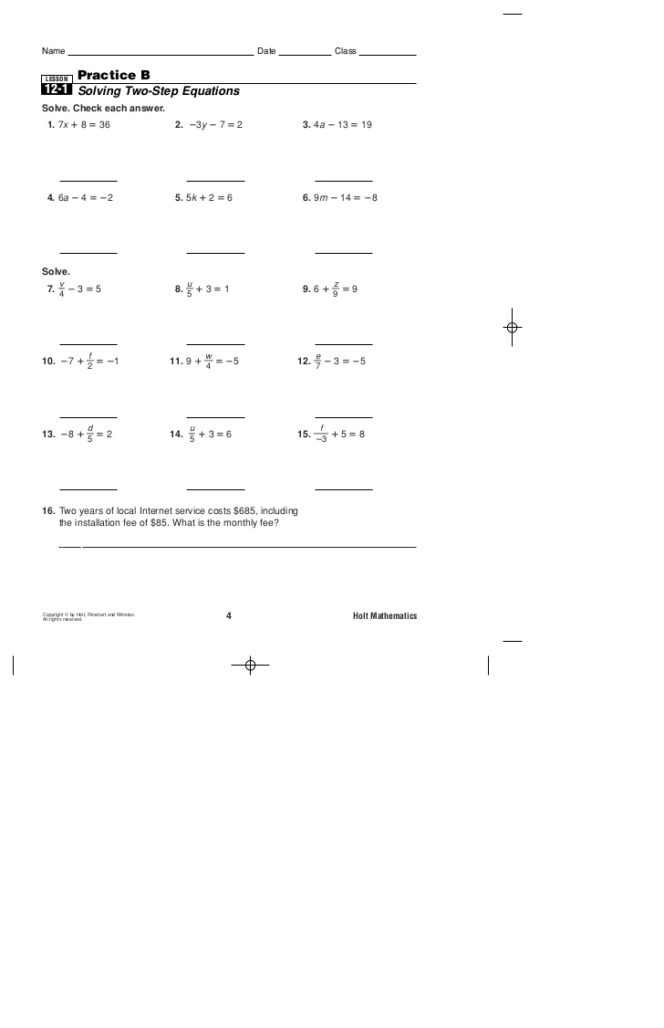 Solving Two Step Equations Worksheet Practice Reading