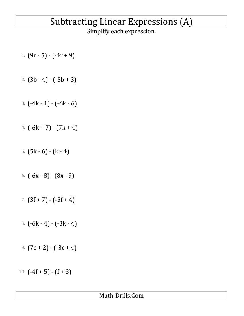 Subtracting And Simplifying Linear Expressions (A) Algebra