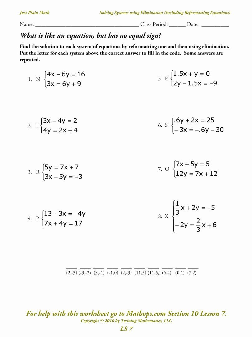 Systems Of Equations Elimination Worksheet New Ls 7 Solving