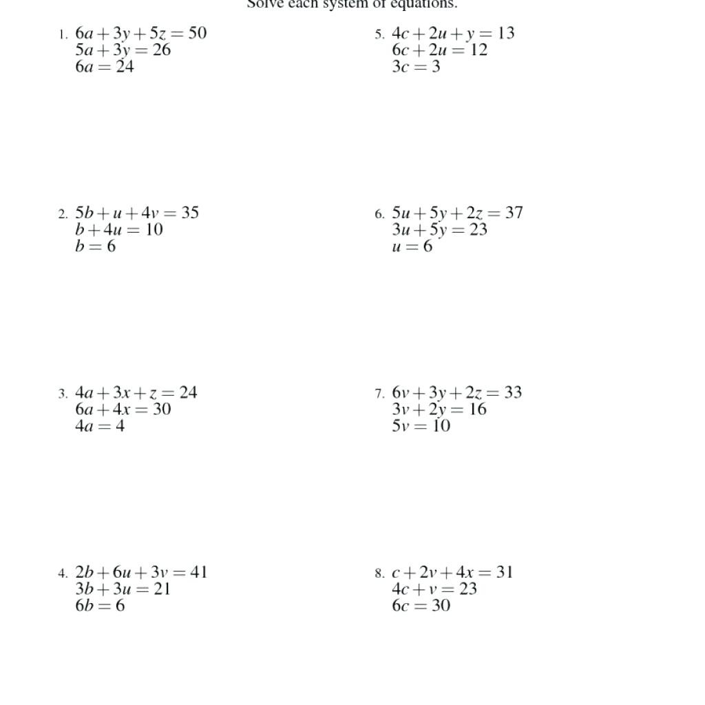 Systems Of Equations Substitution Worksheet | Printable
