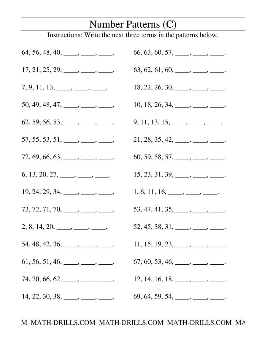 The Growing And Shrinking Number Patterns (C) Math Worksheet