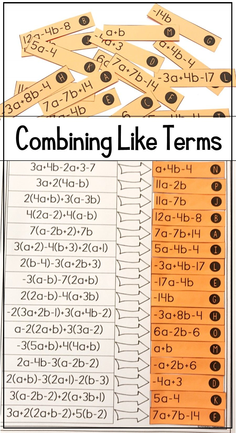 This Combining Like Terms Algebra 1 Activity Is The Perfect