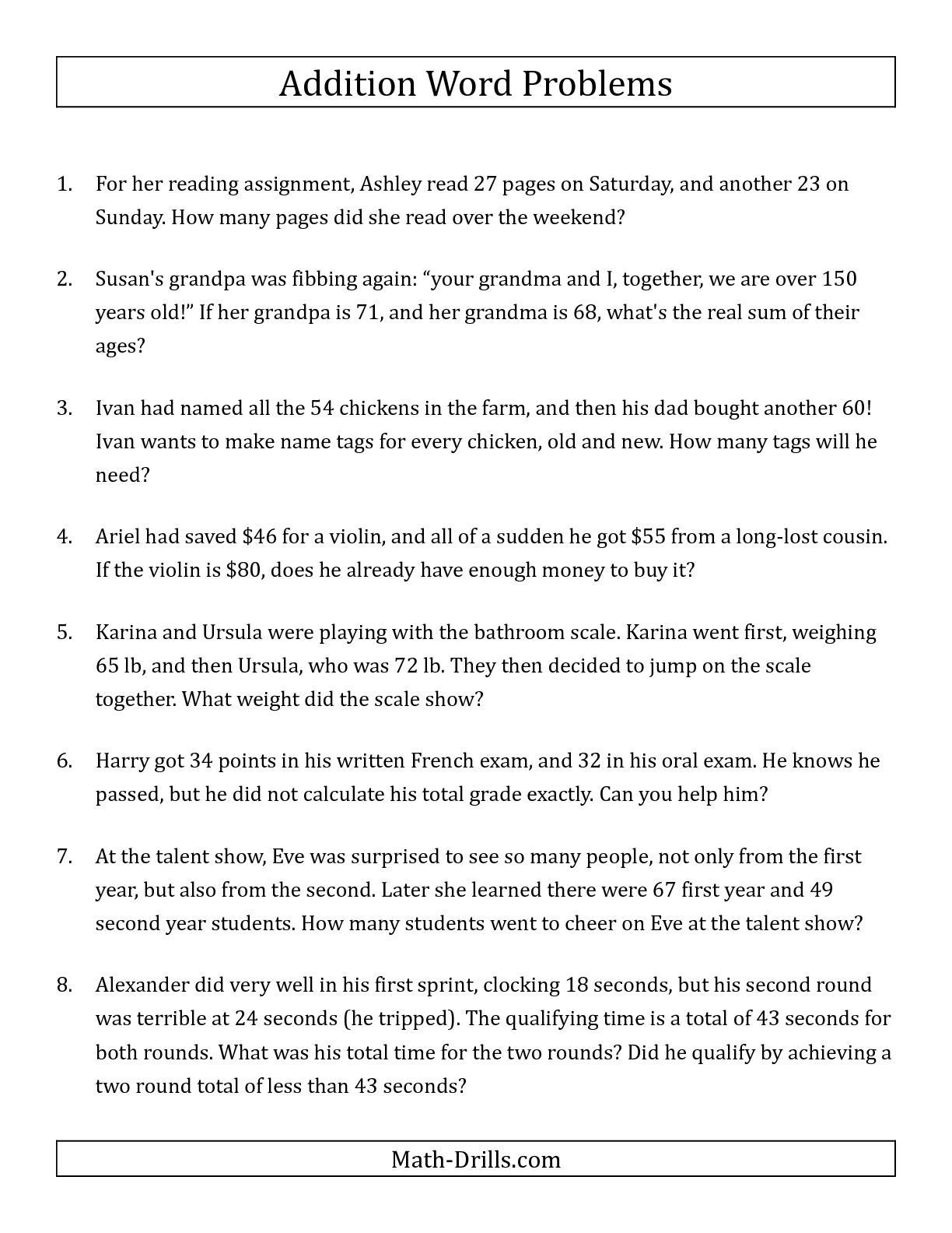 Tremendous Word Problems Worksheets 2Nd Grade Photo