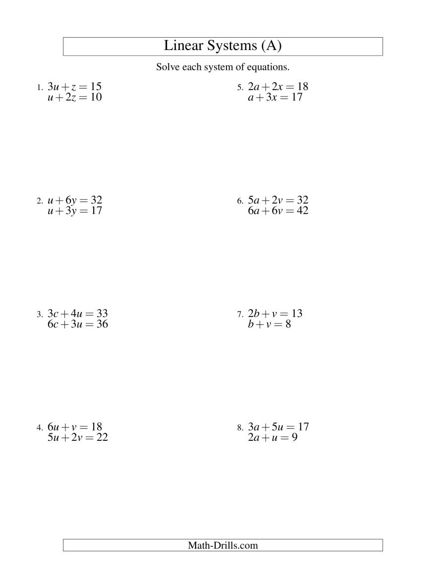 Worksheet On Solving Systems Of Linear Equations