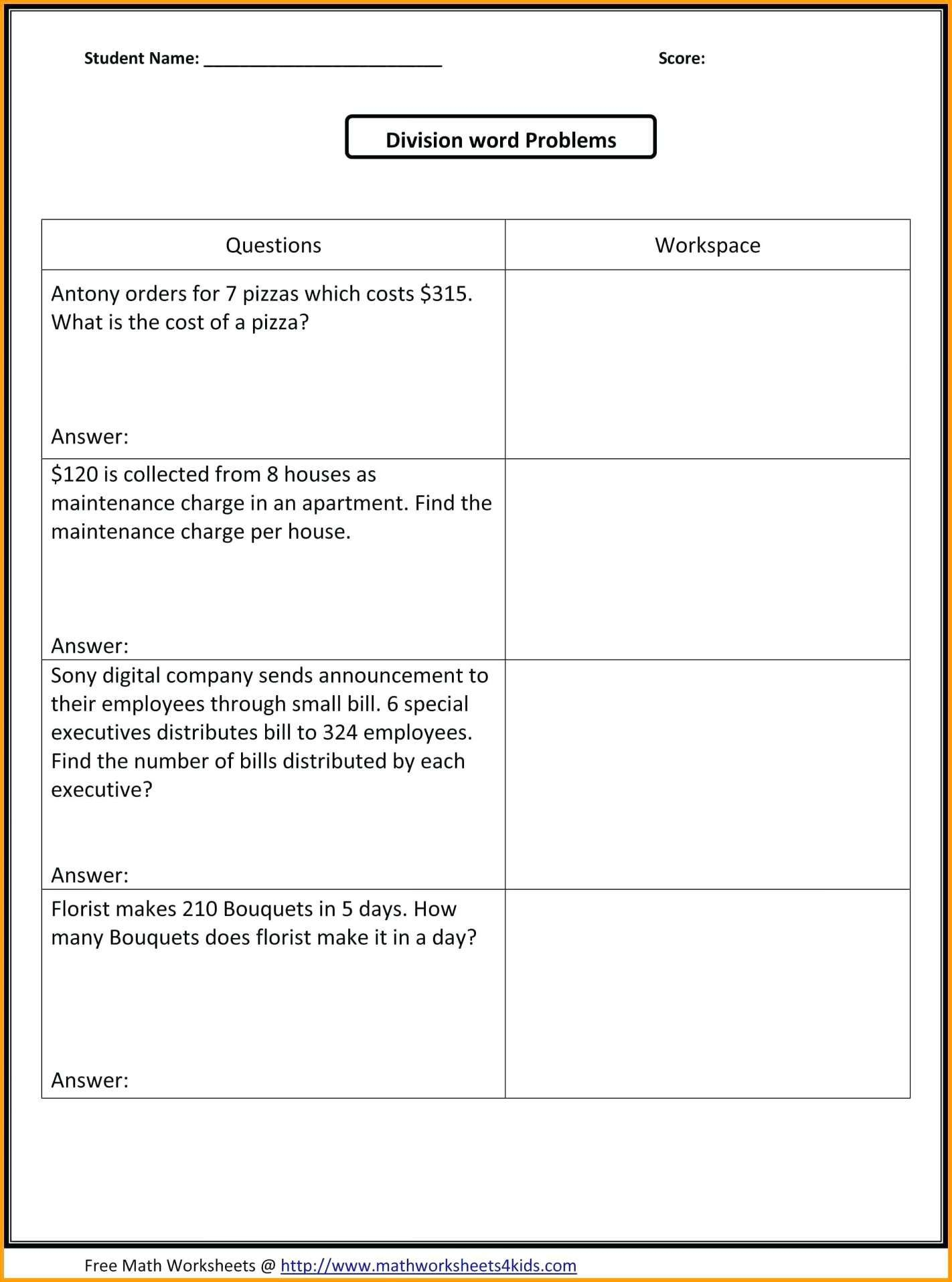 10+ 5Th Grade Common Core Math Word Problems Worksheets