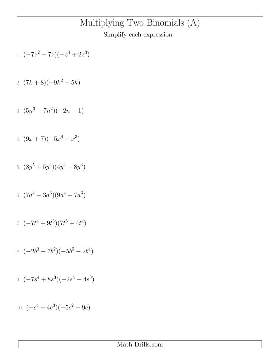 10 Class Multiplying Polynomials Worksheet Coloring Pages