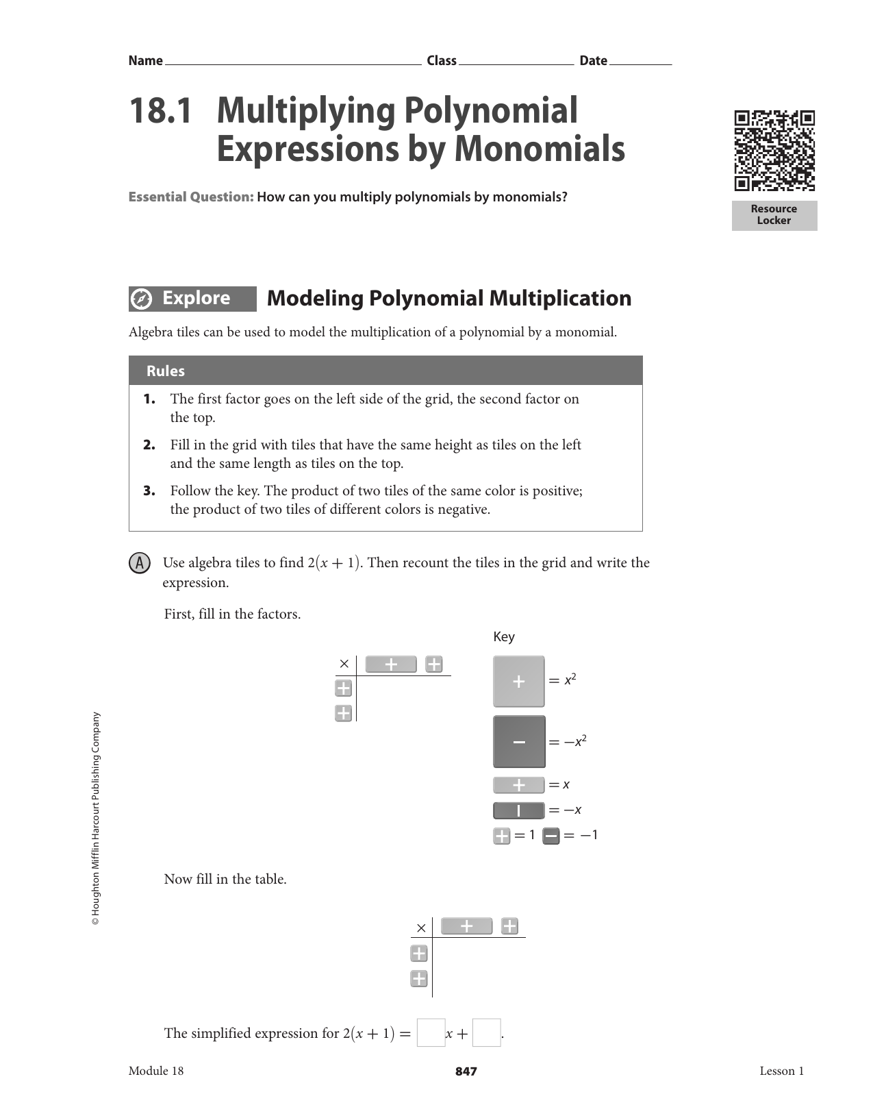 18.1 Multiplying Polynomial Expressionsmonomials