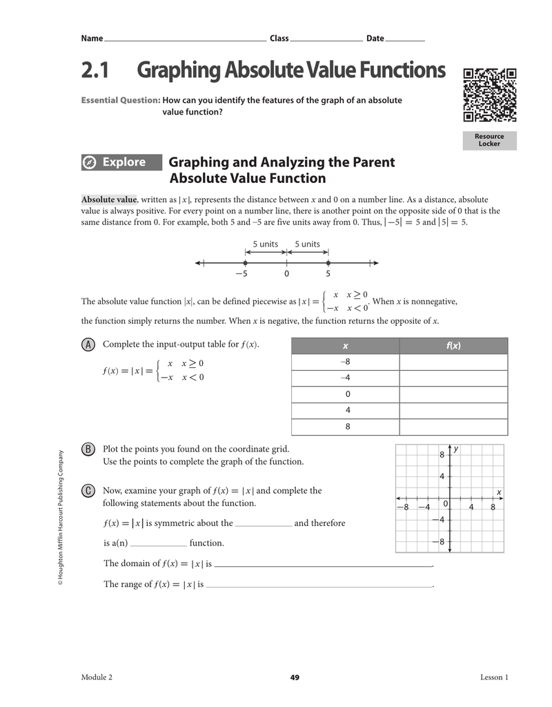 2.1 Graphing Absolute Value Functions