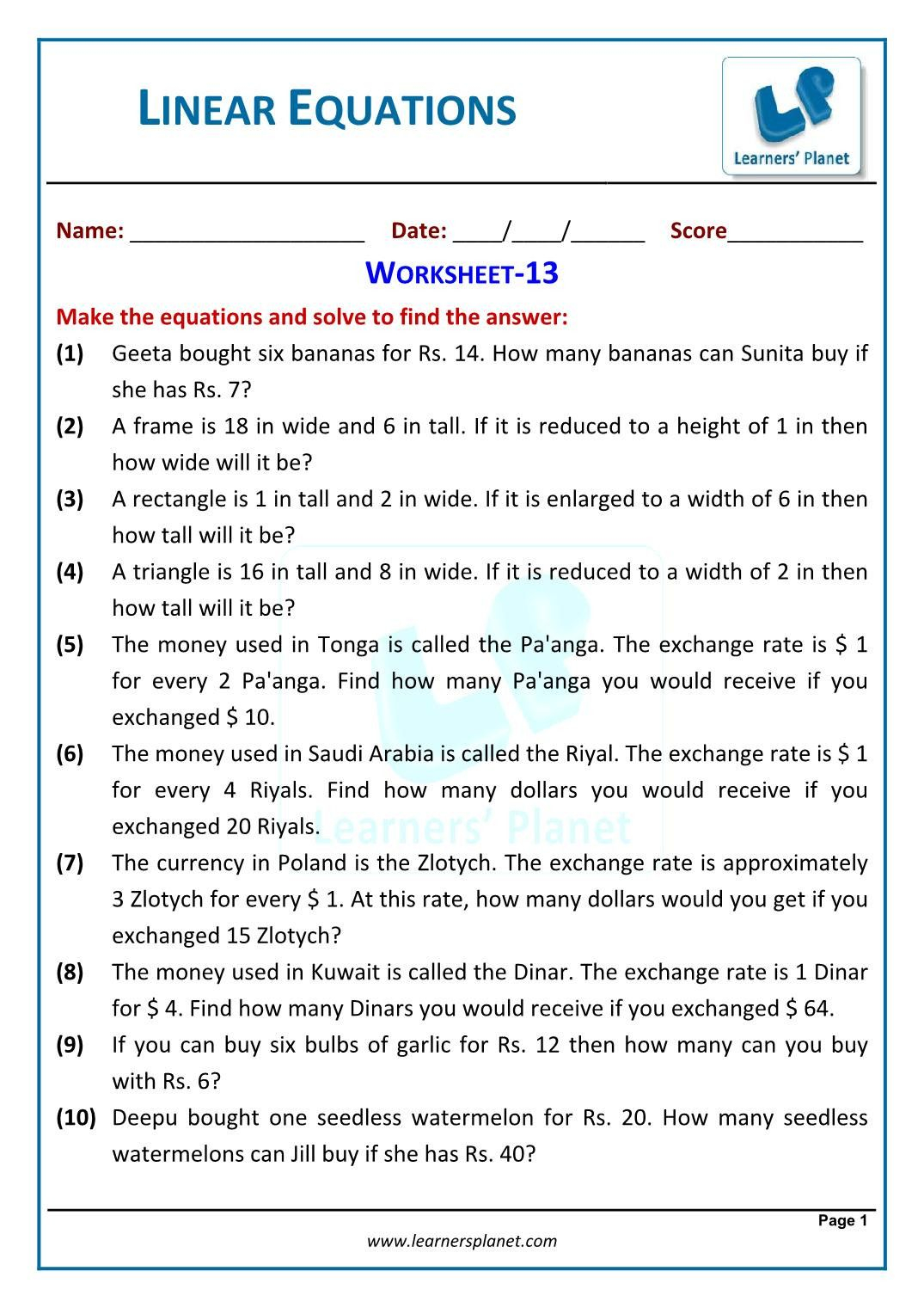 3 Inequality Word Problems Worksheet 7Th Grade Single