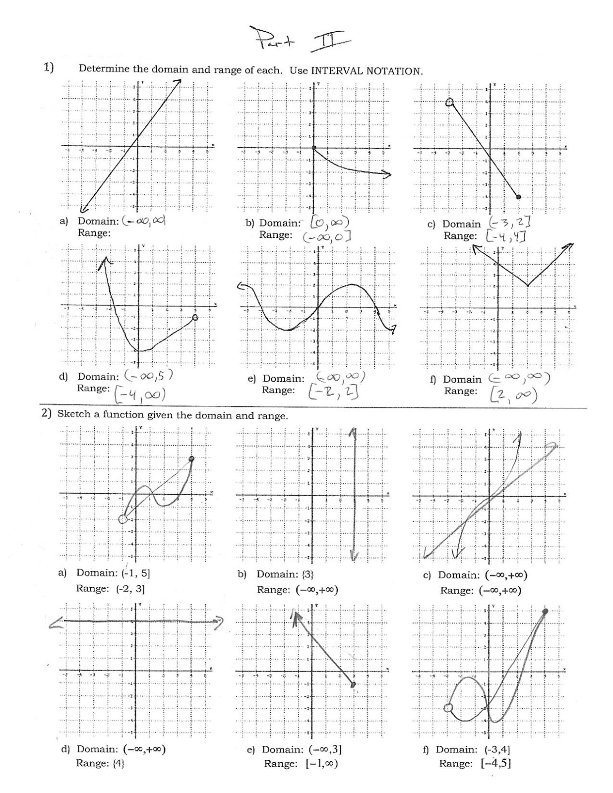 31 Finding Domain And Range From A Graph Worksheet With