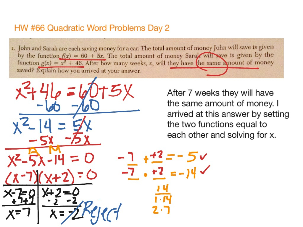 31 Quadratic Word Problems Worksheet With Answers