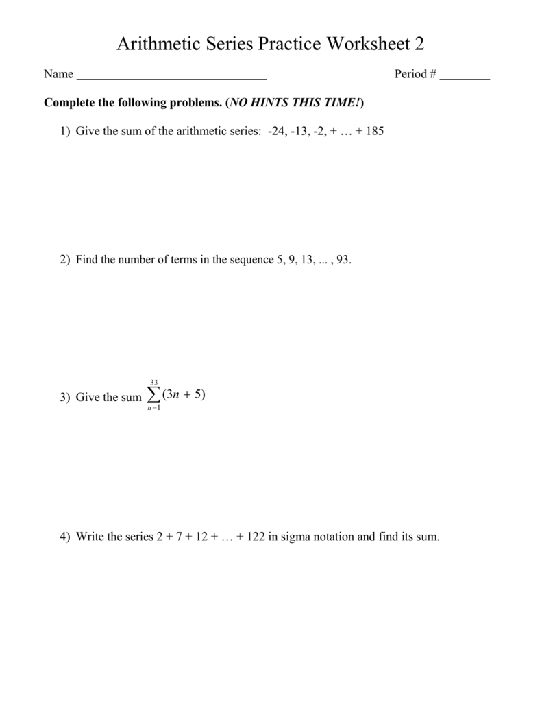 33 Sequence And Series Worksheet - Worksheet Project List
