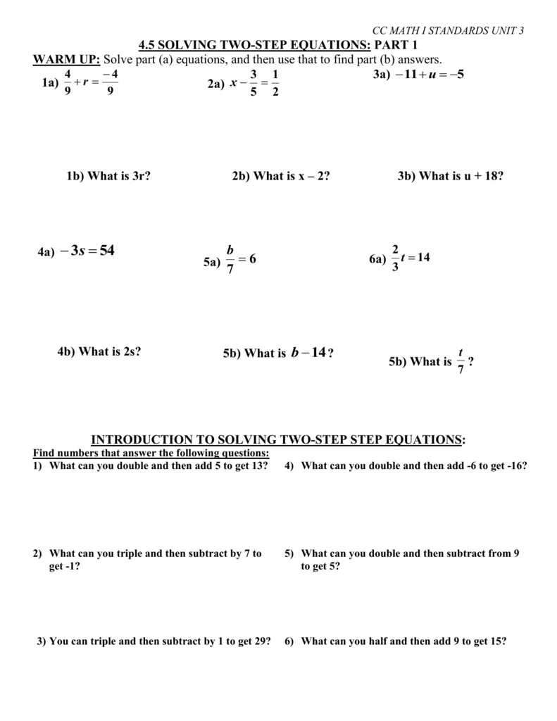 4.5 Solving Two-Step Equations