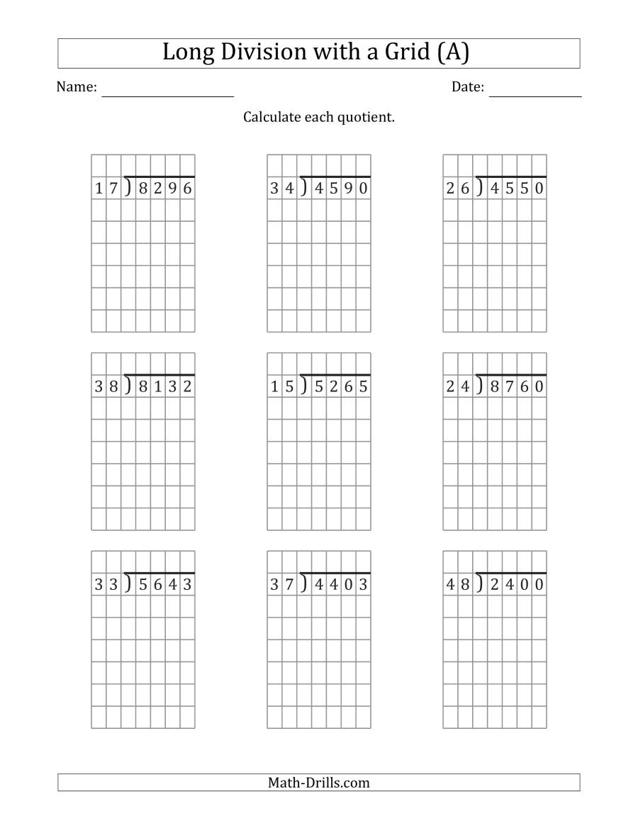 4-Digit2-Digit Long Division With Grid Assistance And No